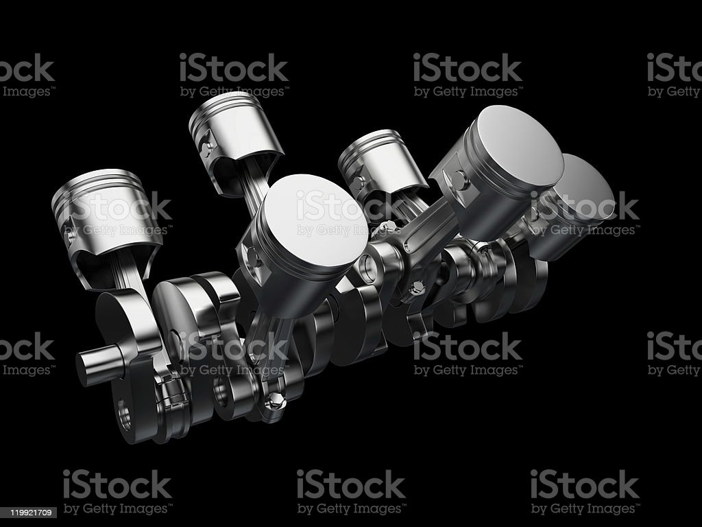 An isolated engine on a black background stock photo