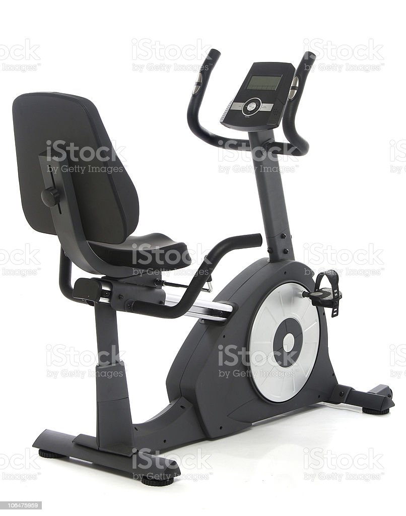 An isolated exercising stationary bike stock photo