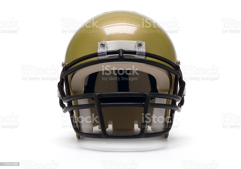 An isolated gold football helmet stock photo