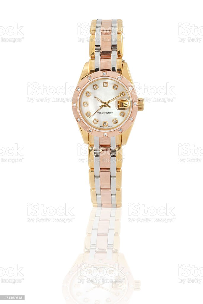 An isolated gold wrist watch on white stock photo