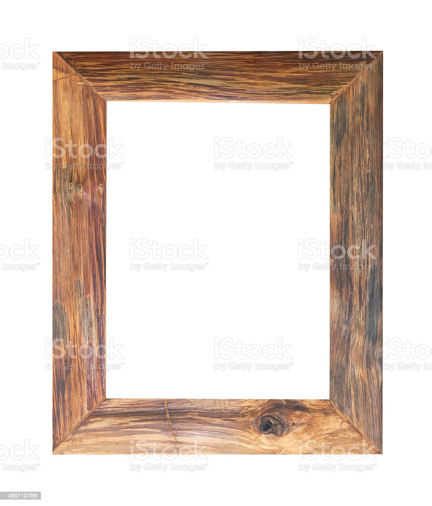 An isolated image of a distressed wooden frame stock photo