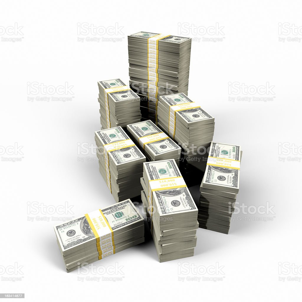 An isolated image of a million dollars, sorted into bunches stock photo