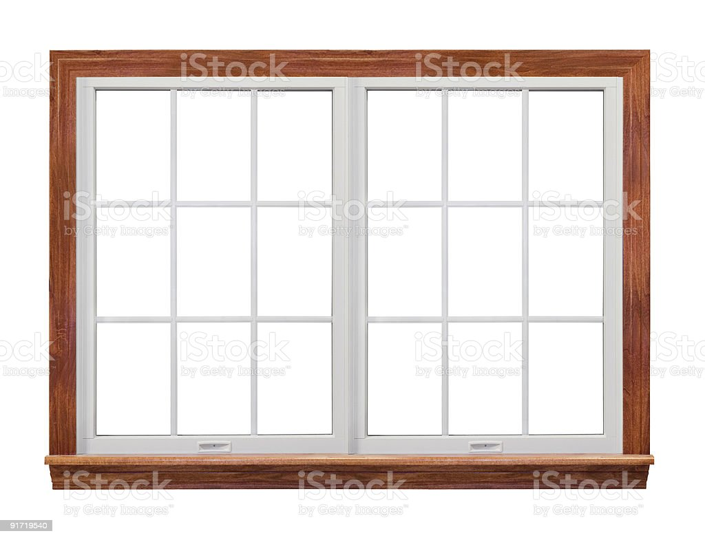 An isolated image of a residential twin window frame stock photo