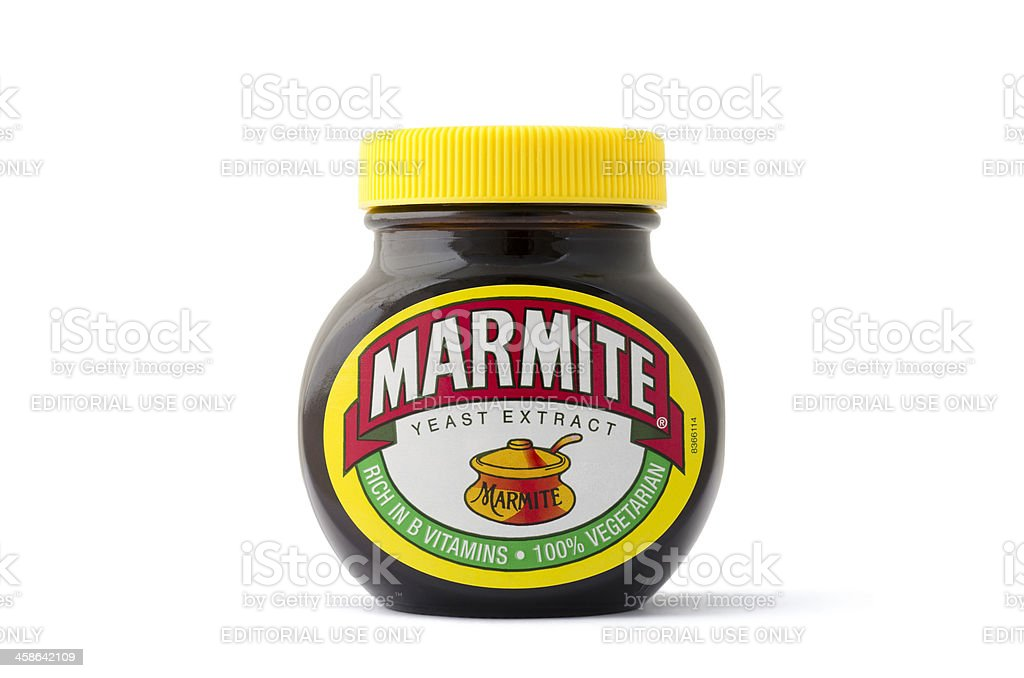 An isolated jar of Marmite yeast extract spread stock photo