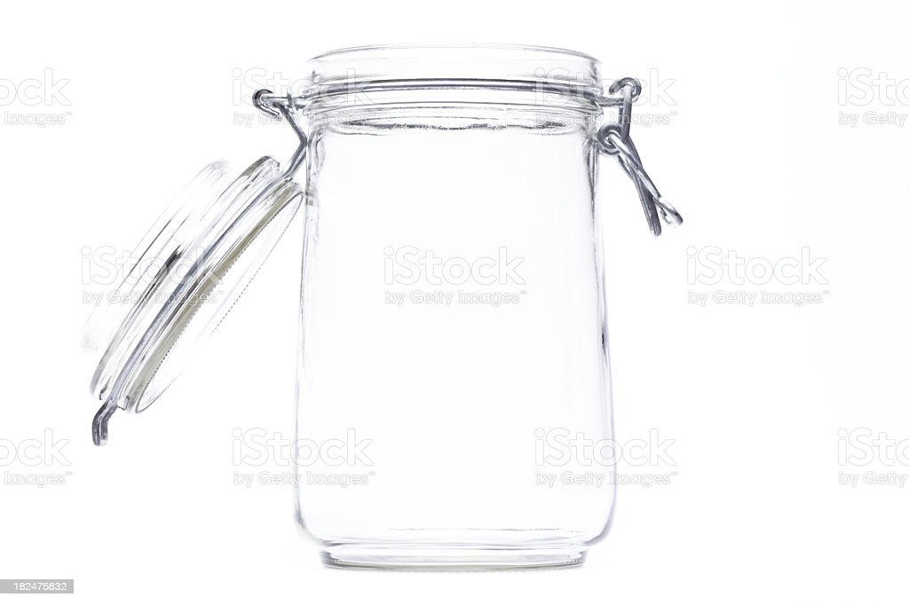 An isolated jar with an open lid stock photo