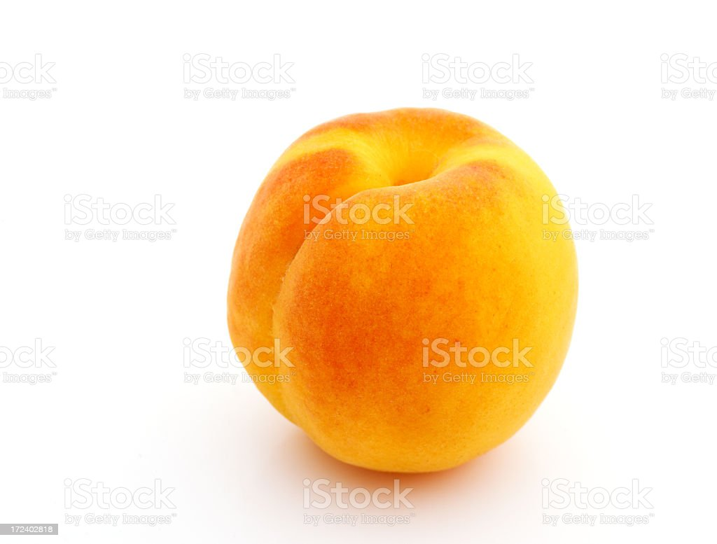 An isolated ripe apricot on white royalty-free stock photo