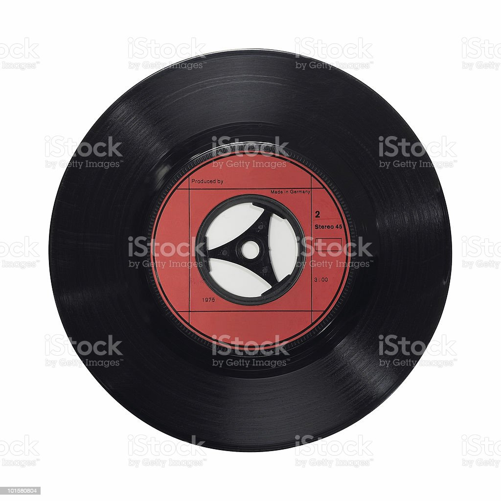 An isolated vinyl record of red and black single 45ups stock photo
