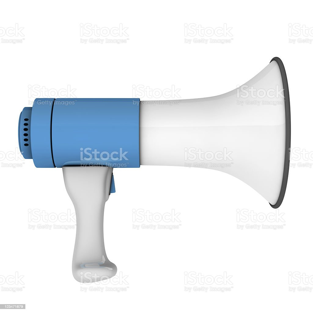 An isolated white and blue megaphone on a white background  stock photo