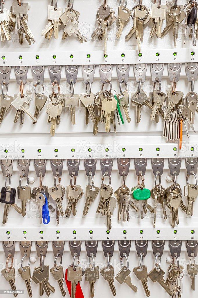 an key cabinet stock photo