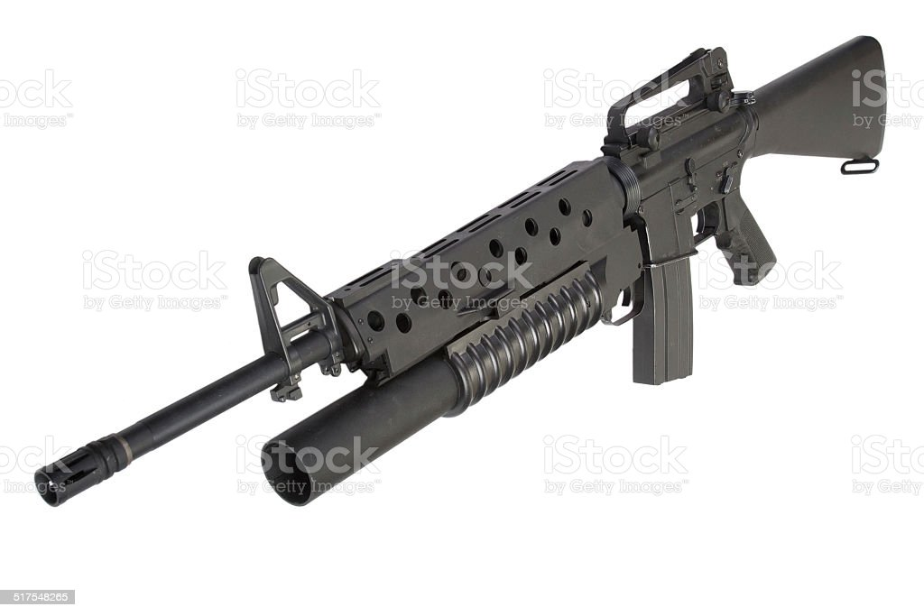 An M16A4 rifle equipped with an M203 grenade launcher stock photo