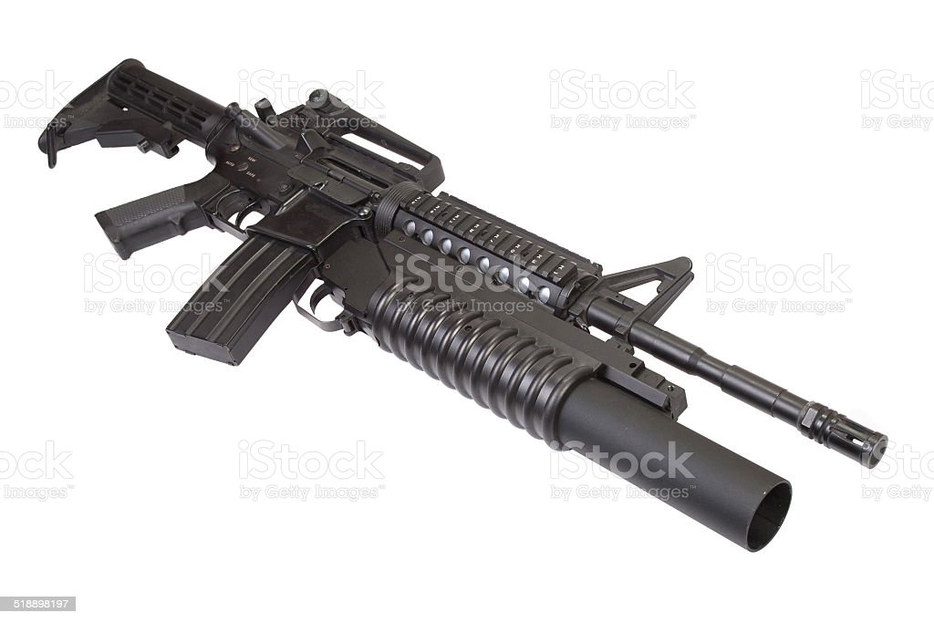 An M4A1 SOPMOD carbine equipped with an M203 grenade launcher stock photo