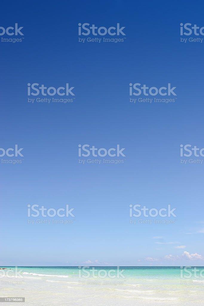 An ocean view horizon with blue sky stock photo