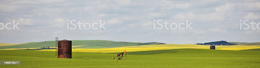 An oil pump in the middle of a lush field royalty-free stock photo