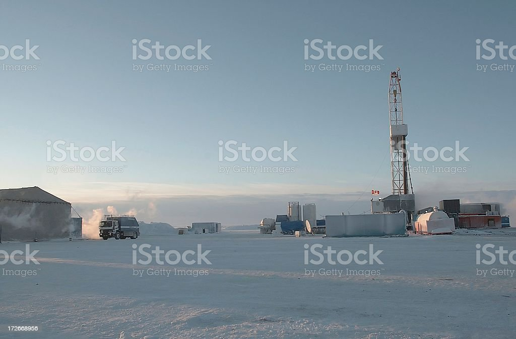 An oil rig drilling in the Artic stock photo