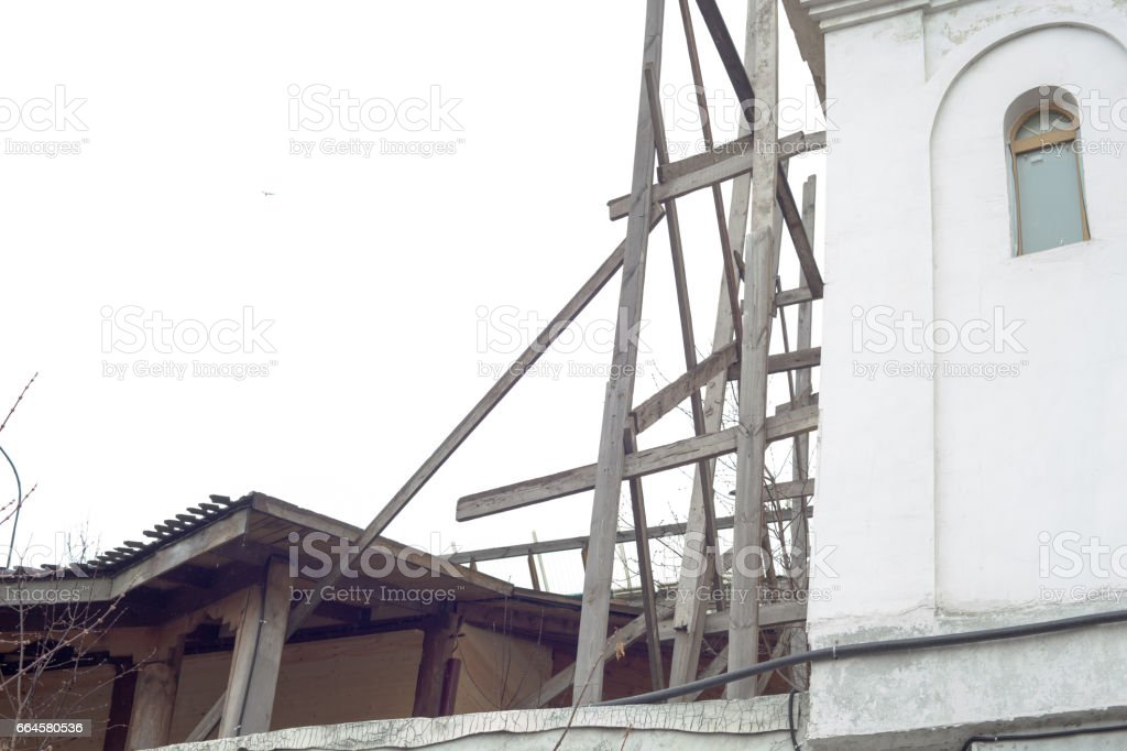 An old abandoned building. Space for text stock photo