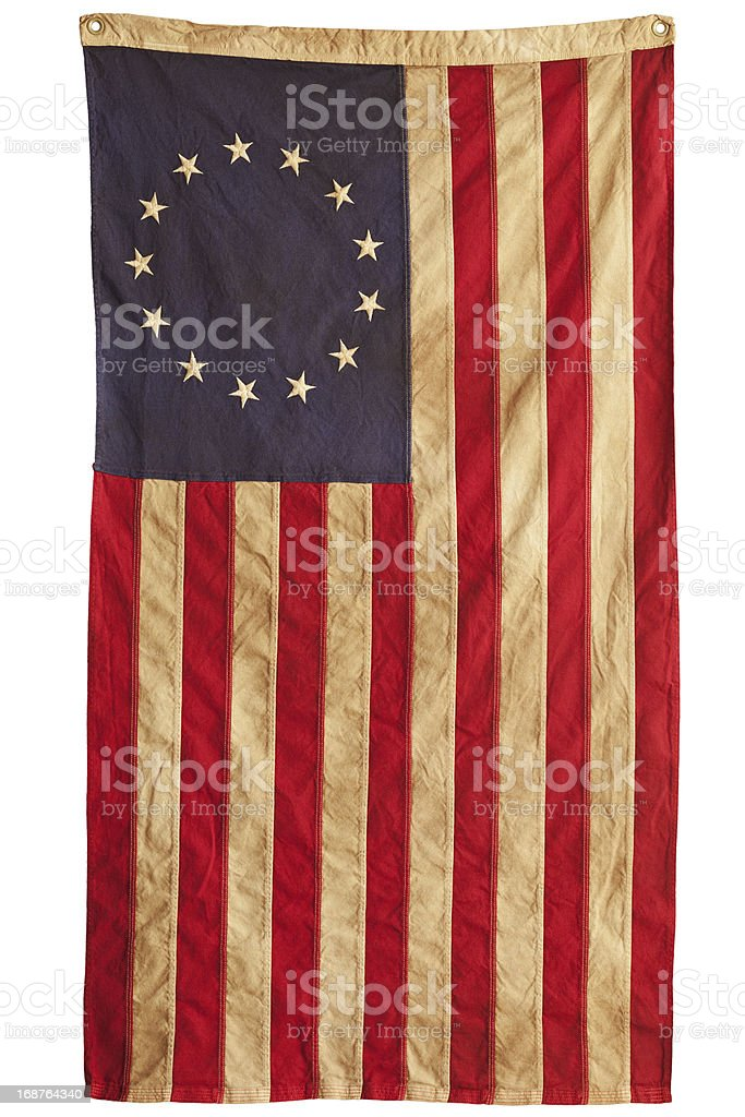 An old American flag with thirteen stars and stripes stock photo