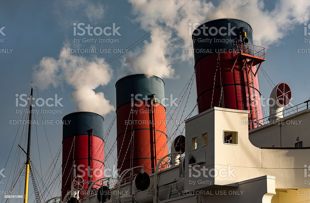 An old American ship at the park Sea in Tokyo stock photo