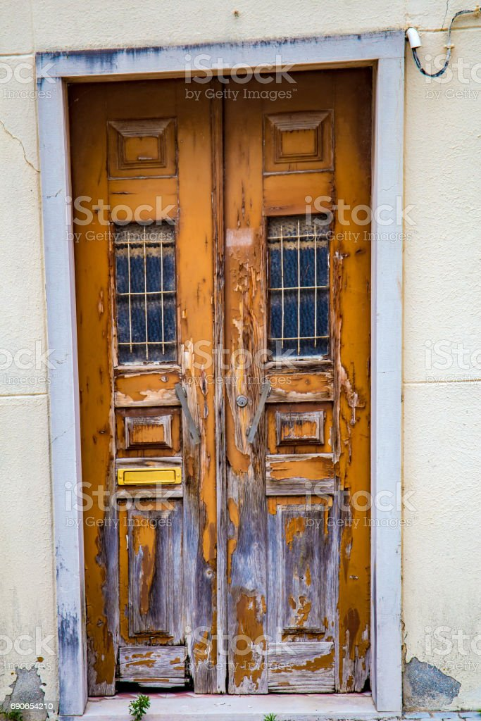 An old and wooden door stock photo