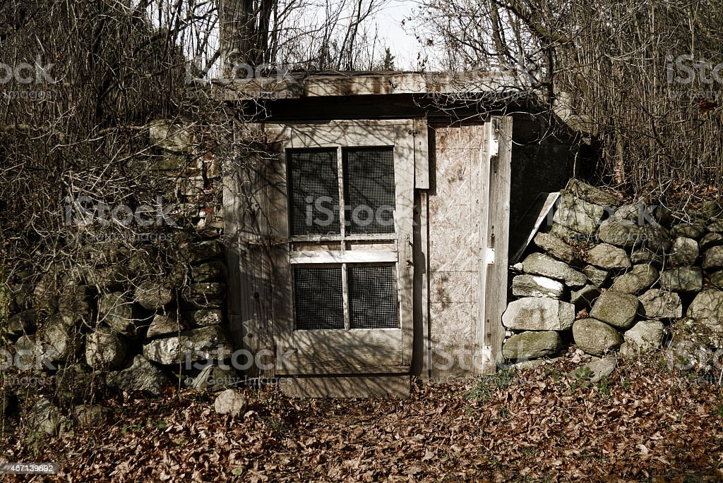 An Old Apple Store in the Woods in Autumn stock photo
