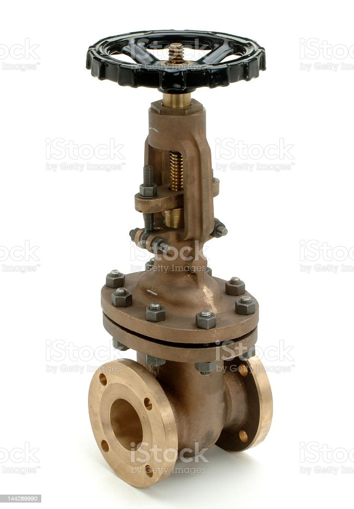 An old bolted industrial valve stock photo