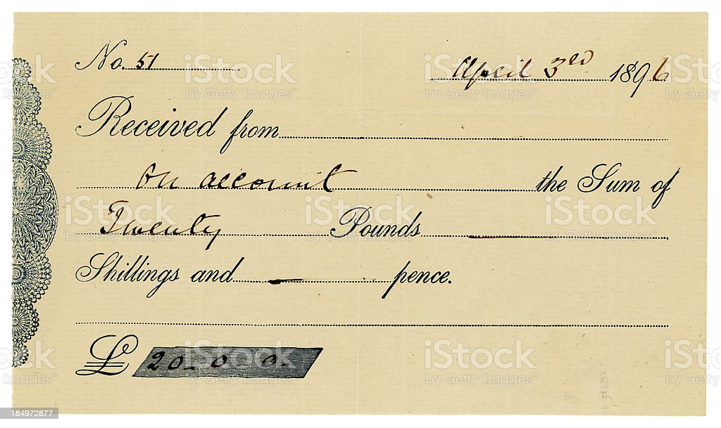 British receipt from 1896 royalty-free stock photo