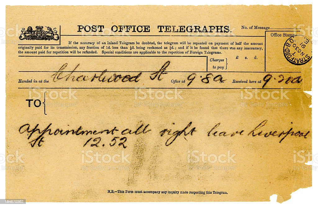 British telegram from 1891 stock photo