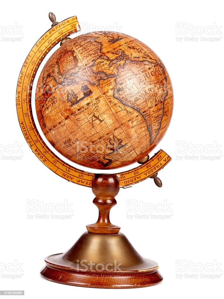 An old brown vintage globe on a small stand stock photo