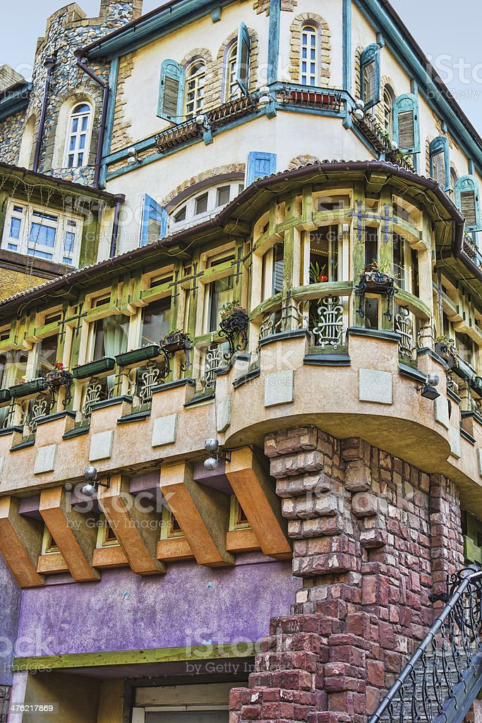 An old building with a decorated royalty-free stock photo