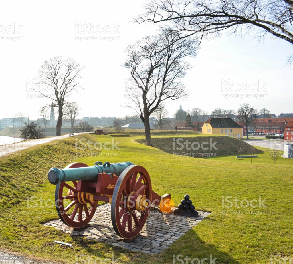 An old cannon in Copenhagen's fortification stock photo