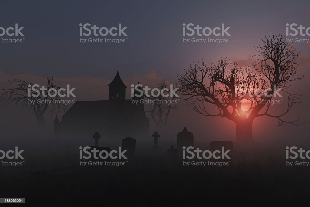 An old church graveyard in the fog royalty-free stock photo