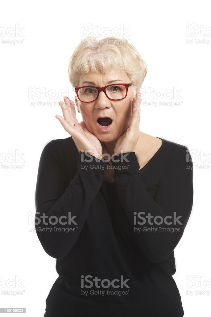 An old lady expresses shock/ surprise. royalty-free stock photo