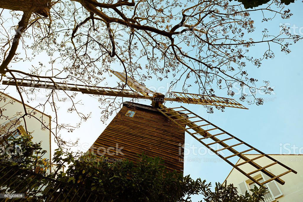 An old Montmartre windmill stock photo