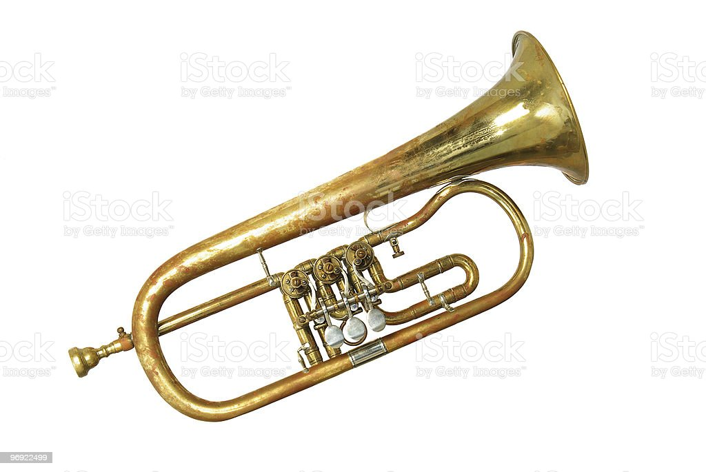 an old rusty trumpet royalty-free stock photo