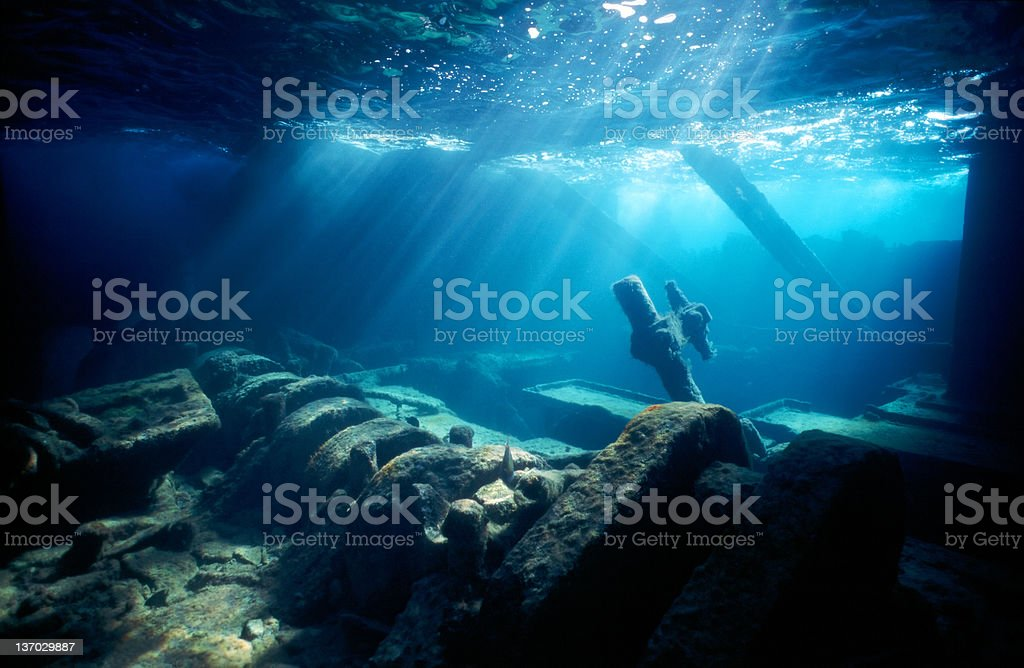 An old shipwreck with a view of the engine room  stock photo