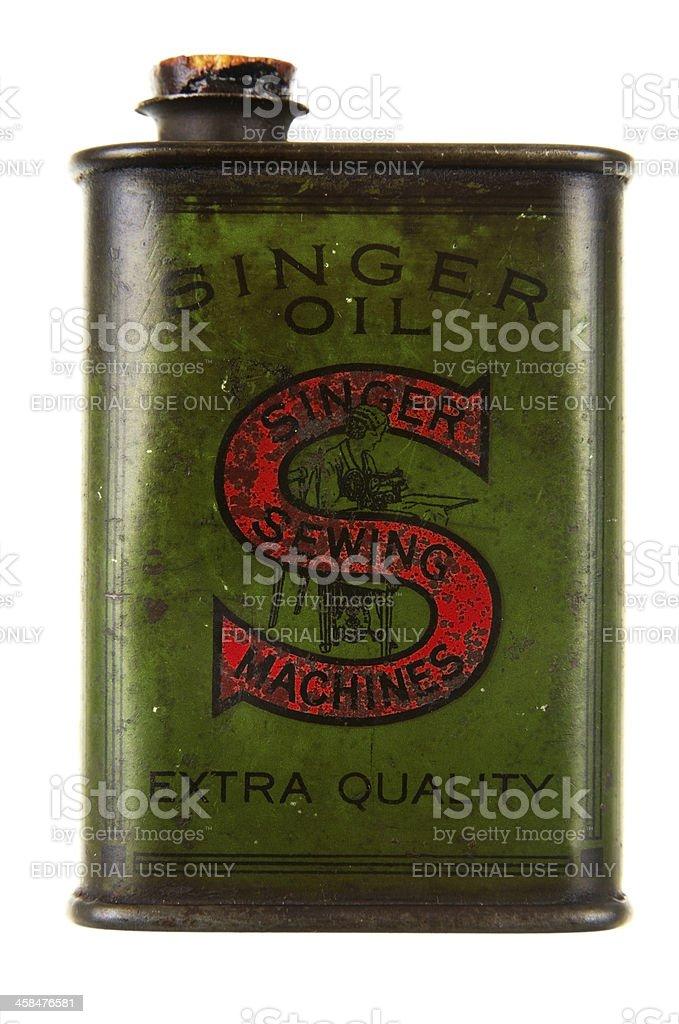 An Old Singer Oil Tin stock photo