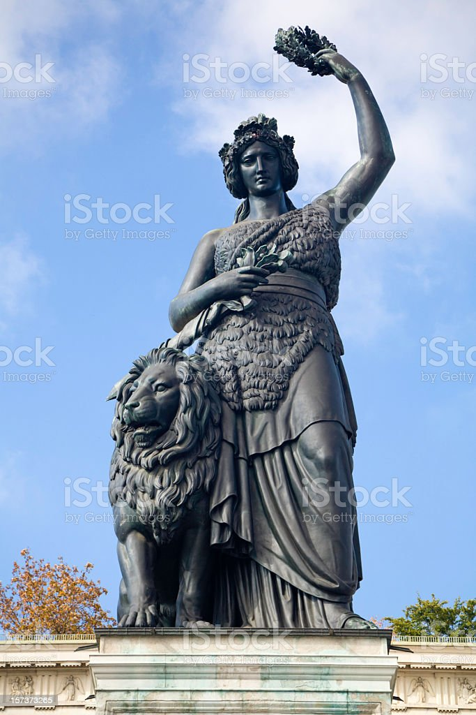 An old Statue of Bavaria with the view of the sky  stock photo