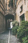 An old street in Porto Maurizio, Imperia, Italy
