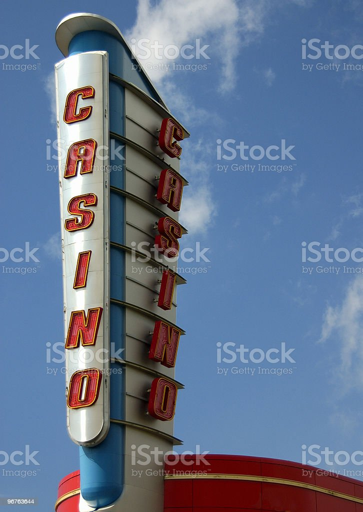 An old style casino sign on the strip  stock photo