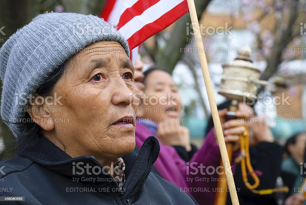 Tibetan women protesting outside Chinese embassy royalty-free stock photo