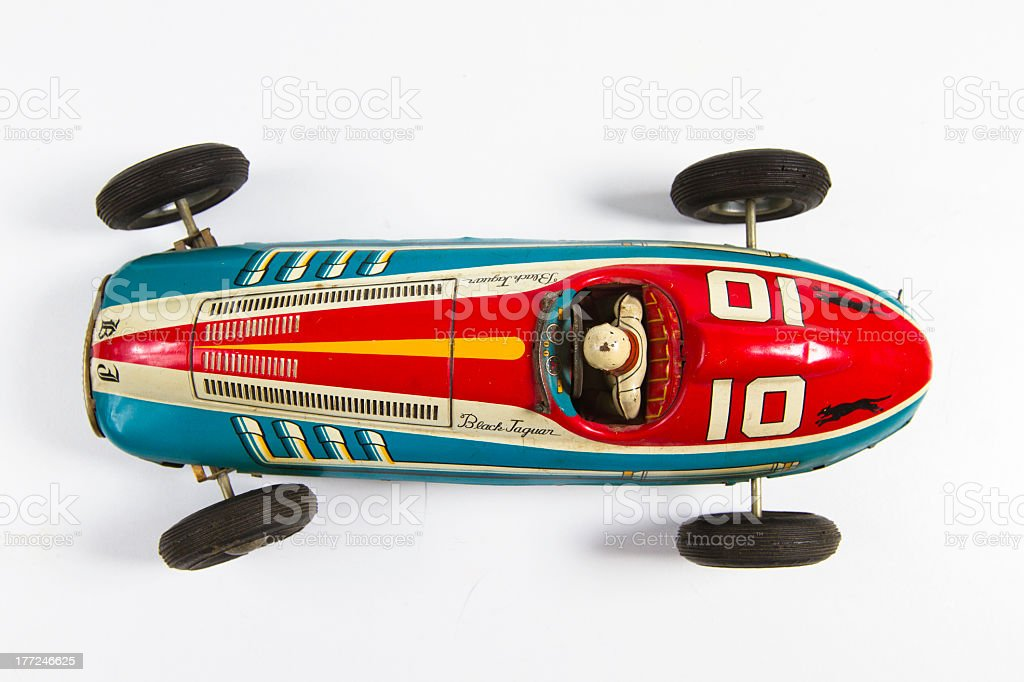 An old toy car with w white background stock photo