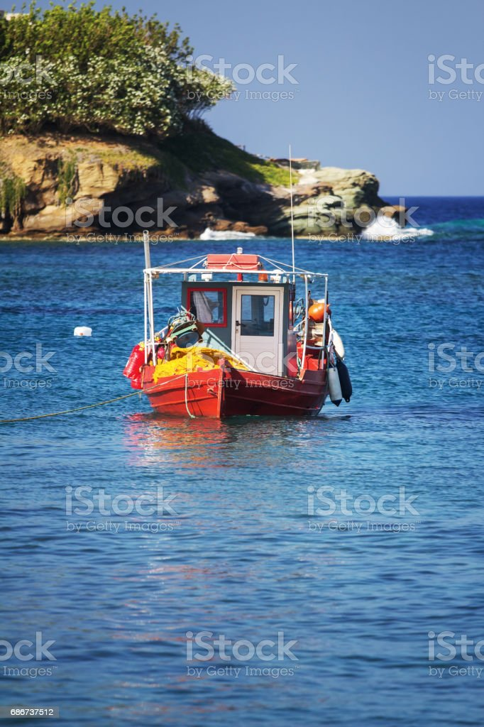 An old traditional Greek fishing boat, Agia Pelagia, Crete Island, Greece stock photo