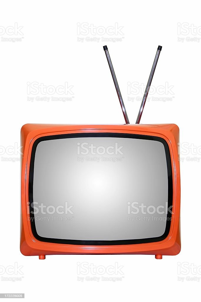 An old TV set with antennas on a white background royalty-free stock photo