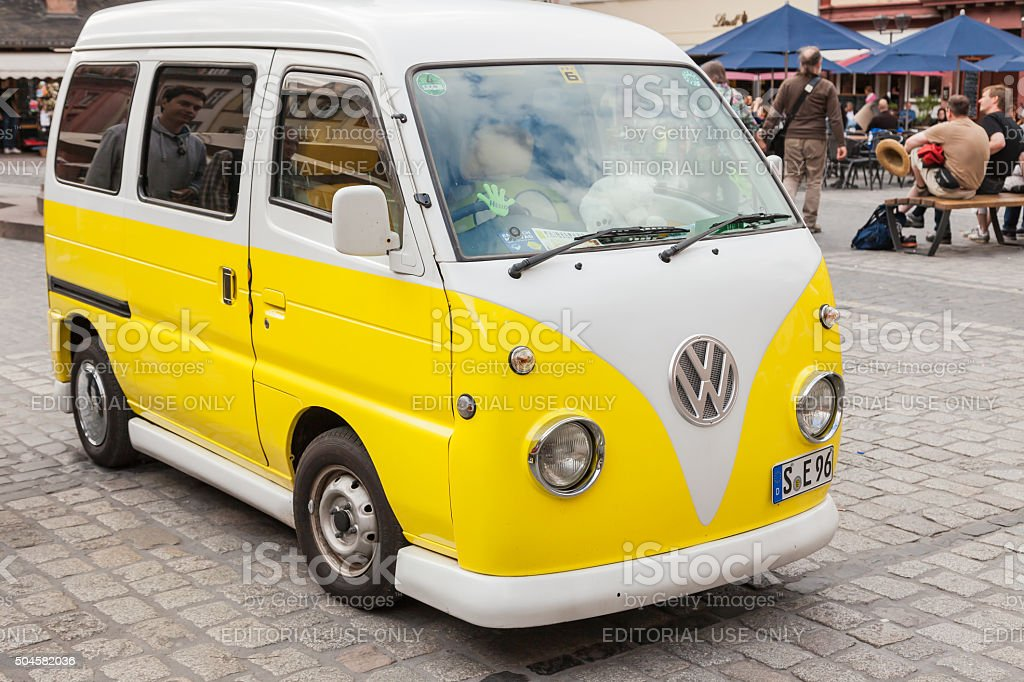 An old VW Bulli in the marketplace of Heidelberg. stock photo