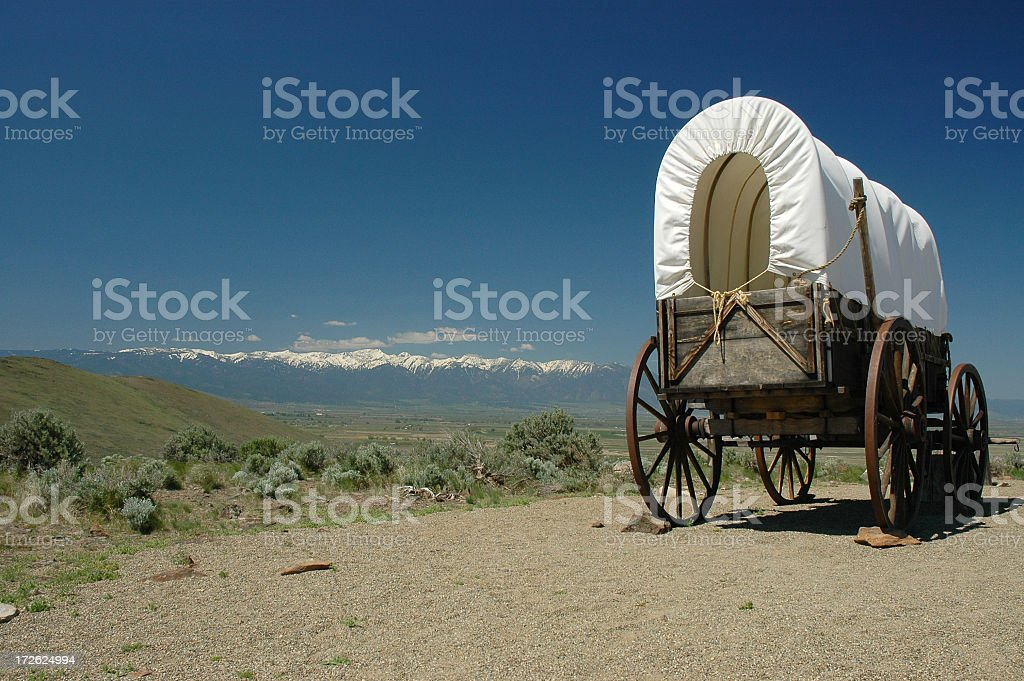 An old wagon on the Oregon trail stock photo