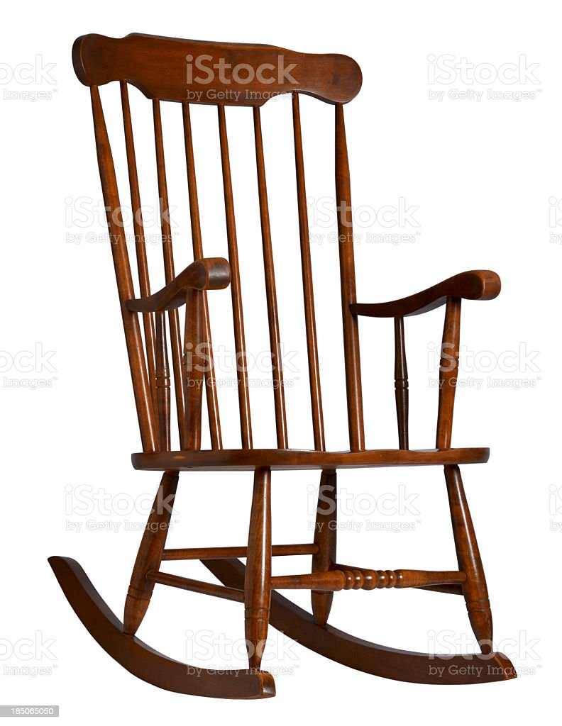 An old wooden rocking chair on a white background stock photo