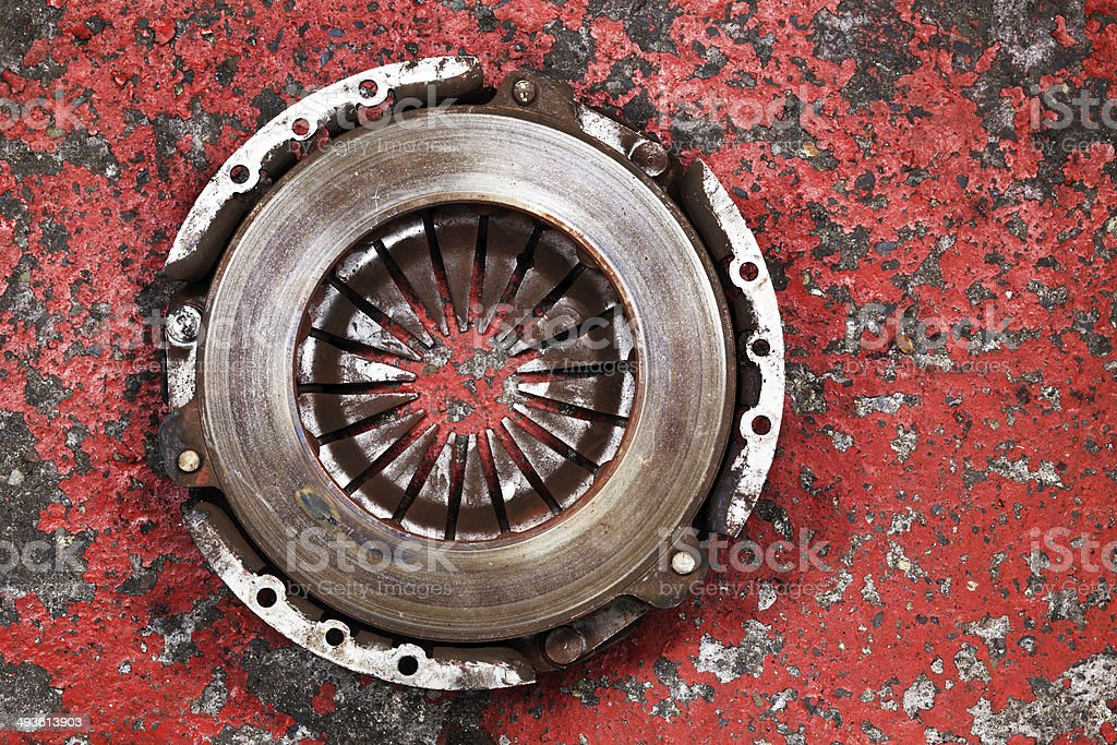 an old worn out vehicle clutch stock photo