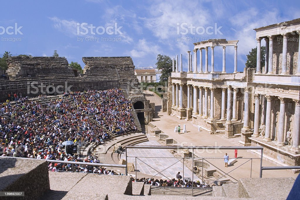 An open air theater with many spectators stock photo