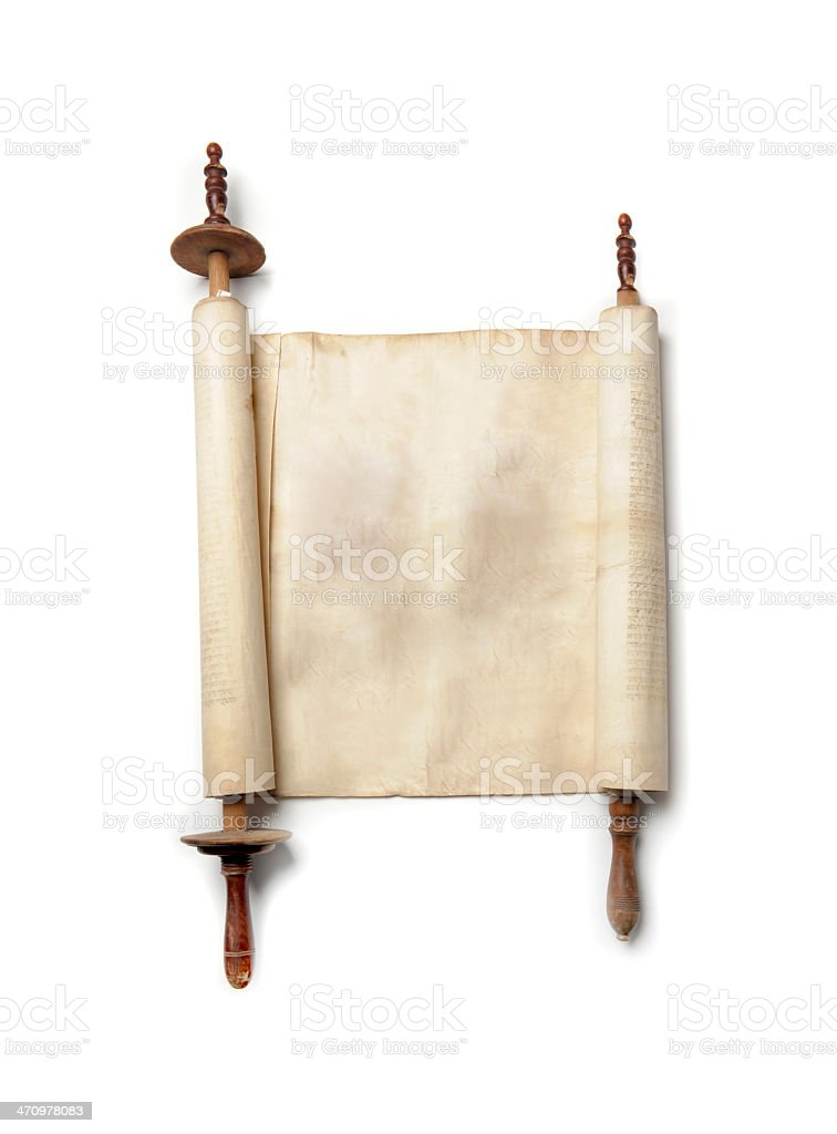 An open antique scroll which is blank stock photo