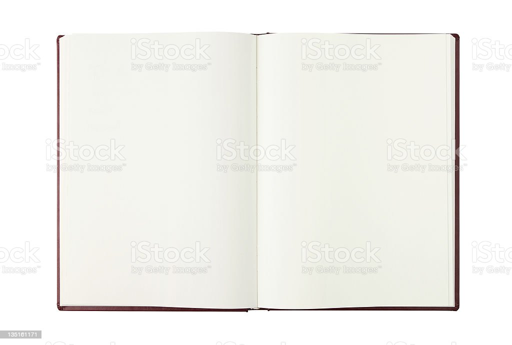 An open blank book with white pages  royalty-free stock photo