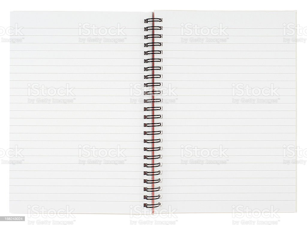 An open blank ringed notebook isolated on white stock photo
